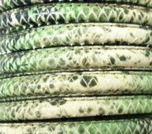 Lederband 10x5mm Schlangenoptik Grün 20cm lang