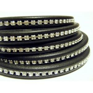 Lederband mit Strass Schwarz 10x6mm 20cm lang