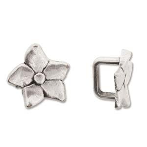 Blütenelement 15mm für 10x7mm Lederband silberfarben