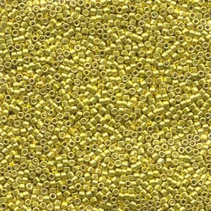 Miyuki Delica Beads 1,6mm DB0424 dyed galvanized Dark Yellow 5gr