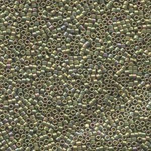 Miyuki Delica Perlen 1,6mm DB0508 metallic rainbow 24 Karat Gold Plated light Green 5gr
