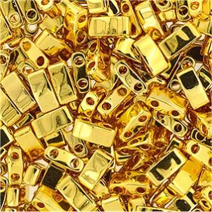 Miyuki Halb Tila Beads 2,2x5mm Plated 24Karat Gold HTL0191 ca 7,8gr