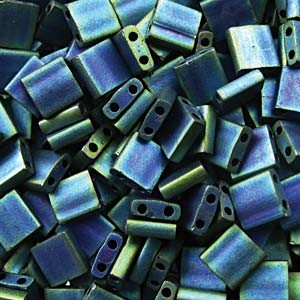 Miyuki Tila Beads 5mm matt metallic Blue Green TL2064 ca 7,2gr