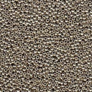 Miyuki Rocailles Beads 4mm 4221 Duracoat galvanized light Smoky Pewter 20gr