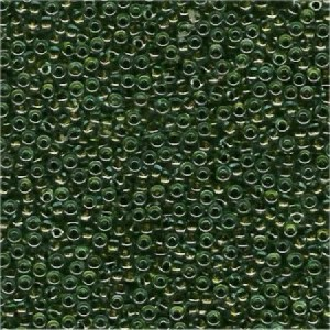 Miyuki Rocailles Beads 3mm 0229 colorlined crystal Olive Green ca 13gr