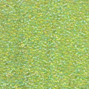 Miyuki Rocailles Beads 3mm 0258 transparent rainbow Lime Green ca 13gr