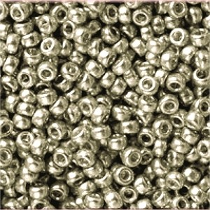 Miyuki Rocailles Beads 3mm 4221F frosted Duracoat galvanized Smokey Pewter ca 22gr