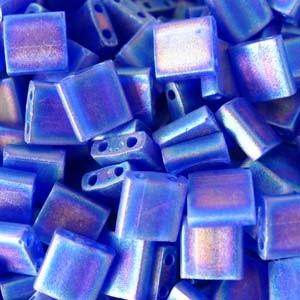 Miyuki Tila Beads 5mm transparent matt irisierend Cobalt TL0151FR 7,2gr