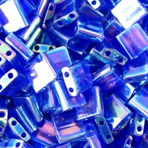 Miyuki Tila Beads 5mm transparent irisierend Cobalt TL0177 7,2gr