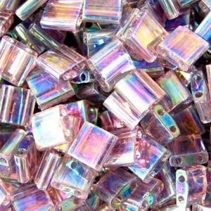 Miyuki Tila Beads 5mm transparent irisierend Smoky Amethyst TL0256 7,2gr