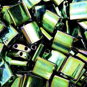 Miyuki Tila Beads 5mm Metallic Green Irisierend TL0468 7,2gr
