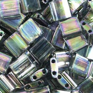 Miyuki Tila Beads 5mm Dark Transparent Grey Rainbow Luster2440D 7,2gr
