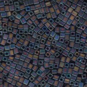Miyuki Würfel Beads, Cube, Square Beads 3mm 0401FR opaque matte rainbow Black 20gr