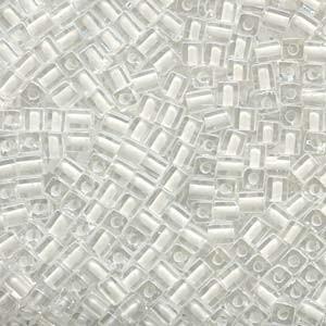 Miyuki Würfel Beads, Cube, Square Beads 4mm 1104 insinde colorlined White 20gr