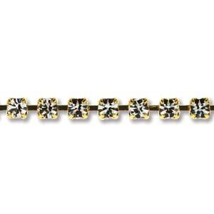 Cupchain Kette vergoldet Crystalfarbene Steine 2,5mm 1 Stück 50cm lang