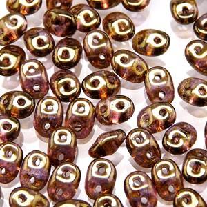 SuperDuo Perlen 2,5x5mm Crystal purple Senegal Brown DU0500030-15695 ca 24gr