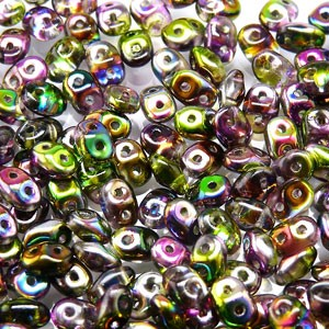 SuperDuo Perlen 2,5x5mm magic violetgreen Crystal DU0500030-95000 ca 24gr