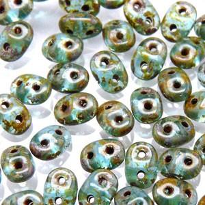 SuperDuo Perlen 2,5x5mm matt Aqua dark Travertin DU0560020-86805 ca 24gr