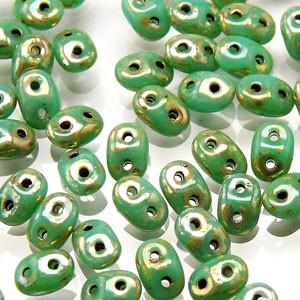 SuperDuo Perlen 2,5x5mm Turquoise Green Picasso DU0563130-43400 ca 24gr