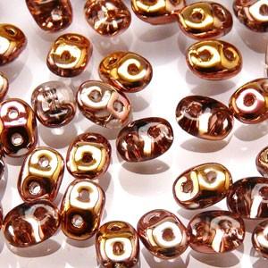 SuperDuo Perlen 2,5x5mm Rosaline Capri Gold DU0570120-27101 ca 24gr