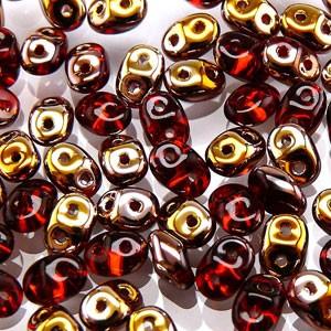 SuperDuo Perlen 2,5x5mm Ruby Capri Gold DU0590080-27101 ca 24gr