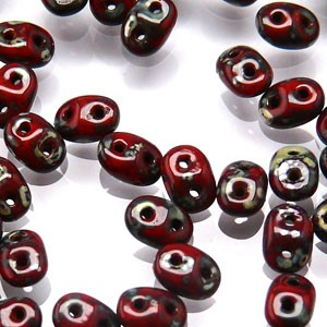 SuperDuo Perlen 2,5x5mm Coral Red Picasso DU0593200-43400 ca 24gr