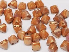 Pyramid Beads 6mm Alabaster Red Luster 10 Stück