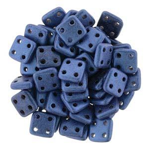 Quadratile Beads metallic suede Blue ca 10 gr