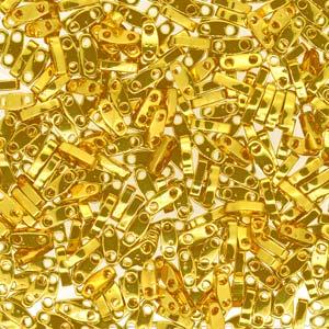Miyuki Quarter Tila Perlen 5x1.5mm Bright 24 Karat Gold Plated ca. 7gr
