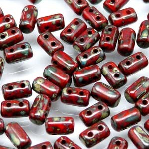 Rulla Beads 3x5mm Opaque Coral Red Dark Travertin ca 10gr