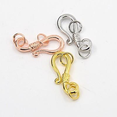 3er Set S-Haken 22x9x2mm mit Ring 5mm silber-, gold- und kupferfarben je 1Stück
