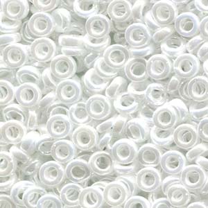 Miyuki Spacer Beads 3X1,3mm opaque luster White ca 10 gr