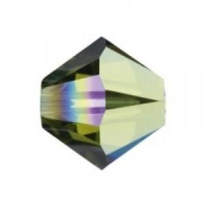 Swarovski Elements Perlen Bicones 3mm Olivine AB beschichtet 100 Stück