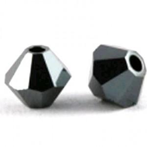 Swarovski Elements Perlen Bicones 3mm Jet Hematite 2X beschichtet 100 Stück