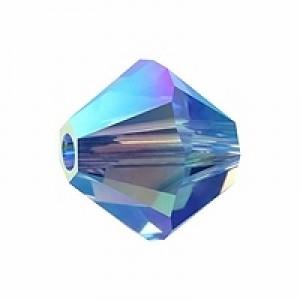 Swarovski Elements Perlen Bicones 4mm Sapphire 2xAB beschichtet 50 Stück