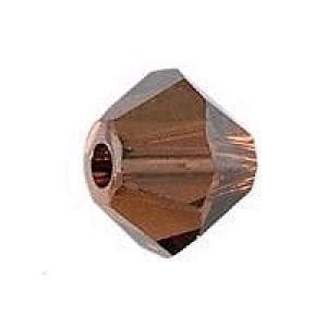 Swarovski Elements Perlen Bicones 4mm Smoked Topaz Satin 100 Stück