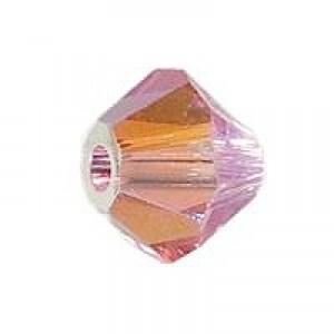 Swarovski Elements Perlen Bicones 4mm Light Rose 2xAB beschichtet 50 Stück