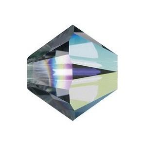 Swarovski Elements Perlen Bicones 5mm Black Diamond AB beschichtet 50 Stück