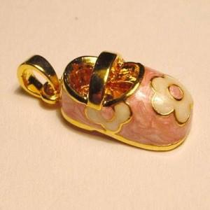 Charms Babyschühchen goldfarben rose