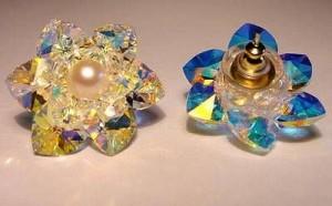 Perlenset Ohrstecker Lotusblüte Crystal AB mit Süsswasserperle