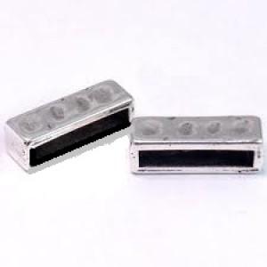 Spacer 17x5mm für 15x2mm Lederband silberfarben gehämmert