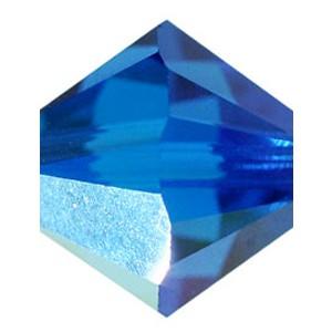 Swarovski Elements Perlen Bicones 3mm Capri Blue AB beschichtet 50 Stück
