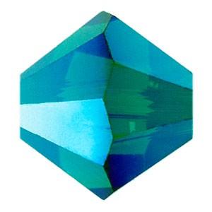 Swarovski Elements Perlen Bicones 6mm Emerald AB 2X beschichtet 25 Stück