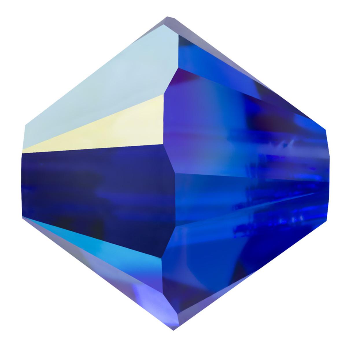 Swarovski Elements Perlen Bicones 4mm Majestic Blue AB beschichtet 50 Stück
