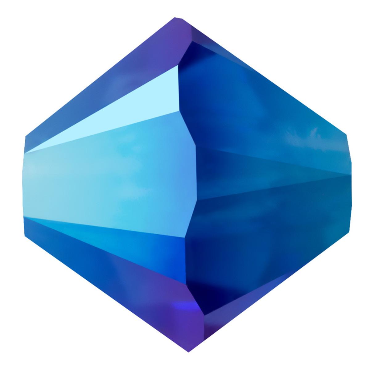 Swarovski Elements Perlen Bicones 3mm Majestic Blue AB2X beschichtet 100 Stück