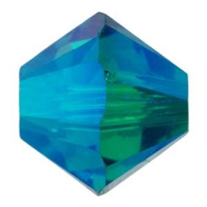 Swarovski Elements Perlen Bicones 6mm Blue Zirkon AB 2X beschichtet 25 Stück