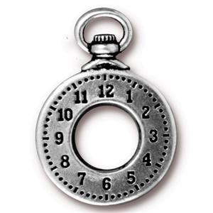 Tierracast Anhänger Clock 28x20mm Silber