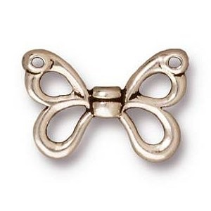 Tierracast Perle 10x15mm Butterfly Wings 2 Stück versilbert