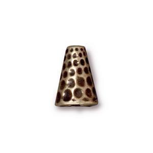 Tierracast Perlenkappe Hammertone altgold 12x9mm 2 Stück