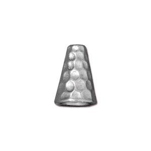 Tierracast Perlenkappe Hammertone silber 12x9mm 2 Stück
